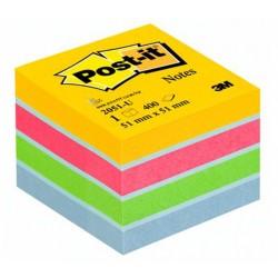 Mini cubo de 400 notas adhesivas 3m post-it 51x51 mm. color ultra.