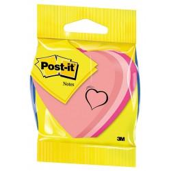Cubo de 225 notas adhesivas 3m post-it 70x70 mm. troqueladas en forma de corazón, colores surtidos neón.