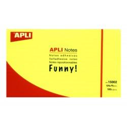 Bloc de notas adhesivas apli gama funny amarillo brillante de 75x75 mm.