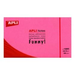 Bloc de notas adhesivas apli gama funny rosa brillante de 75x75 mm.