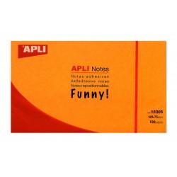 Bloc de notas adhesivas apli gama funny naranja brillante de 75x75 mm.