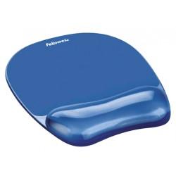 Alfombrilla con reposamuñecas para ratón fellowes gel crystals en color azul.