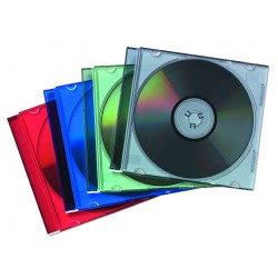 Pack de 25 cajas slim colores fellowes para cd/dvd's.
