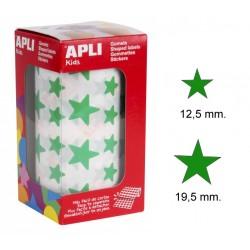 Gomet apli en formade estrella de diferentes tamaños en color verde, rollo de2.360 uds.