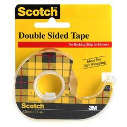 Cinta adhesiva invisible scotch doble cara de 6 mts. x 12 mm. en mini-portarrollos.