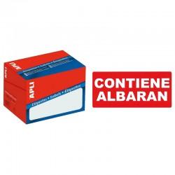 """Etiqueta de logística y envío pre-impresa """" contiene albarán """" cantos romos apli de 100x50 mm. en rollo."""