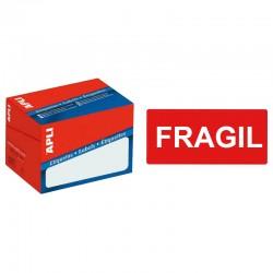 """Etiqueta de logística y envío pre-impresa """" frágil """" cantos romos apli de 100x50 mm. en rollo."""