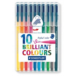 Rotulador escolar staedtler triplus color 323 en colores surtidos, estuche de 10 uds.