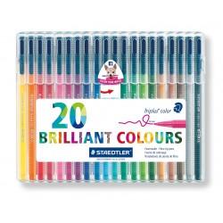Rotulador escolar staedtler triplus color 323 en colores surtidos, estuche de 20 uds.
