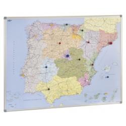 Mapa de españa con marco de aluminio faibo de 101x137 cm.