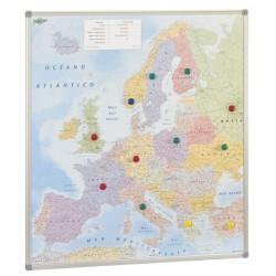 Mapa de europa con marco de aluminio faibo de 101x113 cm.