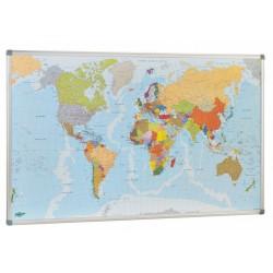 Mapa mundi con marco de aluminio faibo de 84x140 cm.