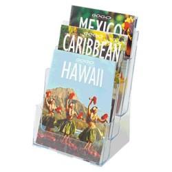 Expositor de sobremesa deflect-o escalonado de 3 niveles para folletos en din a-4 vertical en color cristal transparente.