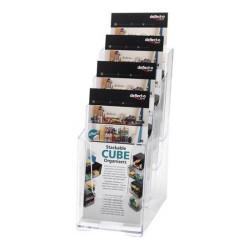 Expositor de sobremesa deflect-o escalonado de 3 niveles para folletos en din a-5 vertical en color cristal transparente.