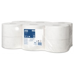 Papel higiénico industrial mini jumbo tork advanced, 2 capas, 94 mm. x 170 mts. color blanco.