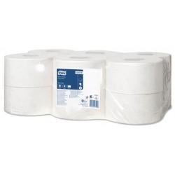 Papel higiénico tork mini jumbo, paquete de 12 rollos con 850 servicios.