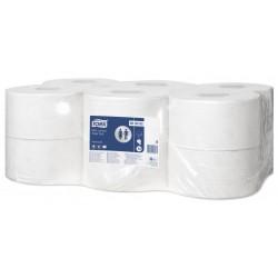 Papel higiénico tork mini jumbo, paquete de 12 rollos con 915 servicios.