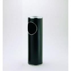 Papelera-cenicero metálico cilindro b-10 de color negro.