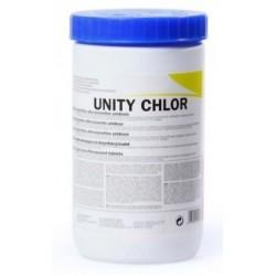 Lejía en pastillas unity chlor, bote de 300 unidades.