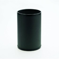 Papelera metálica con embellecedores en negro cilindro de color negro.