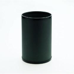 Papelera metálica con embellecedores en negro cilindro de color grafito.