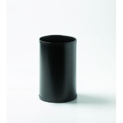 Papelera metálica con embellecedores en negro cilindro gran capacidad de color negro.