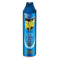 Insecticida spray raid moscas y mosquitos, aerosol de 600 ml.