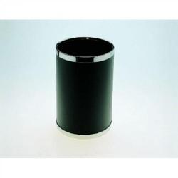 Papelera metálica forrada de vinilo con aros cromados cilindro de color negro.