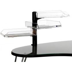 Set de 3 bandejas portadocumentos con soporte giratorio archivo 2000 turborack en color negro/cristal transparente.