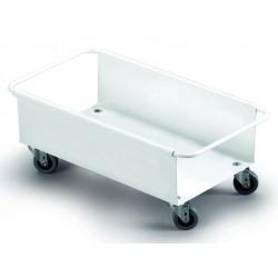 Carrito de metal de 4 ruedas para contenedor durable durabin de 60 litros en color blanco.