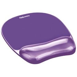 Alfombrilla con reposamuñecas para ratón fellowes del gel crystals en color violeta.