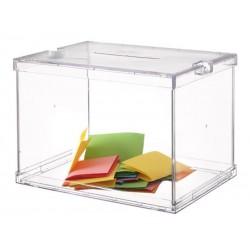 Buzón de sugerencias archivo 2000 en color cristal transparente.