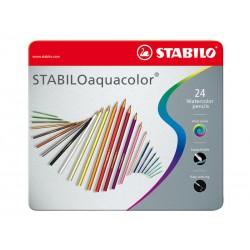 Lápiz stabilo aquacolor en colores surtidos , estuche de metal con 24 uds.