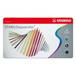 Lápiz stabilo aquacolor en colores surtidos, estuche de metal con 36 uds.