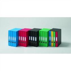 Box de 4 carpetas de 2 anillas mixtas de 25 mm. uni system color verde en din a-4.
