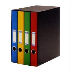 Box de 4 carpetas de 2 anillas mixtas de 25 mm. uni system colores surtidos en din a-4.