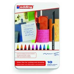 Rotulador punta de fibra edding 1200 en colores surtidos, caja de metal con 10 uds.