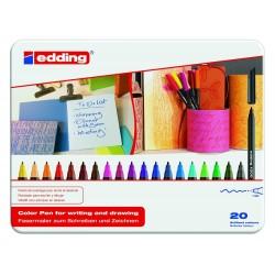 Rotulador punta de fibra edding 1200 en colores surtidos, caja de metal con 20 uds.
