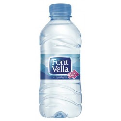 Agua mineral natural font vella, botellla de 330 ml.