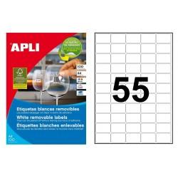 Etiqueta blanca removible cantos rectos apli de 36,8x23,8 mm. caja de 100 hojas din a-4.