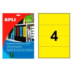 Etiqueta para archivo cantos romos apli de 190x61 mm. en color amarillo, blister de 20 hojas din a-4.
