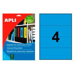 Etiqueta para archivo cantos romos apli de 190x61 mm. en color azul, blister de 20 hojas din a-4.