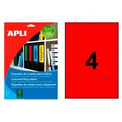 Etiqueta para archivo cantos romos apli de 190x61 mm. en color rojo, blister de 20 hojas din a-4.
