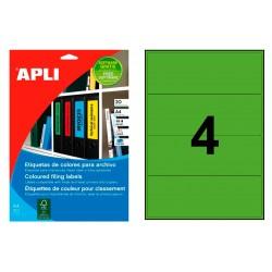 Etiqueta para archivo cantos romos apli de 190x61 mm. en color verde, blister de 20 hojas din a-4.