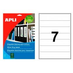 Etiqueta para archivo cantos romos apli de 190x38 mm. en color blanco, blister de 25 hojas din a-4.