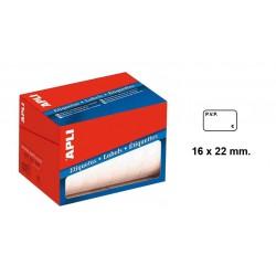 "Etiqueta blanca pre-impresa "" p.v.p. € "" cantos romos apli de 16x22 mm. en rollo."