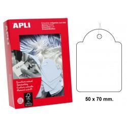Etiqueta colgante con hilo de escritura manual apli de 50x70 mm. en cartulina de color blanco, caja de 400 uds.