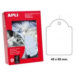 Etiqueta colgante con hilo de escritura manual apli de 45x65 mm. en cartulina de color blanco, caja de 400 uds.