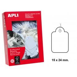 Etiqueta colgante con hilo de escritura manual apli de 15x24 mm. en cartulina de color blanco, caja de 1.000 uds.