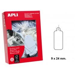Etiqueta colgante con hilo de escritura manual apli de 9x24 mm. en cartulina de color blanco, caja de 1.000 uds.